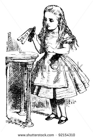 stock-photo-alice-is-picking-up-a-small-bottle-engraving-by-john-tenniel-united-kingdom-illustration-92154310