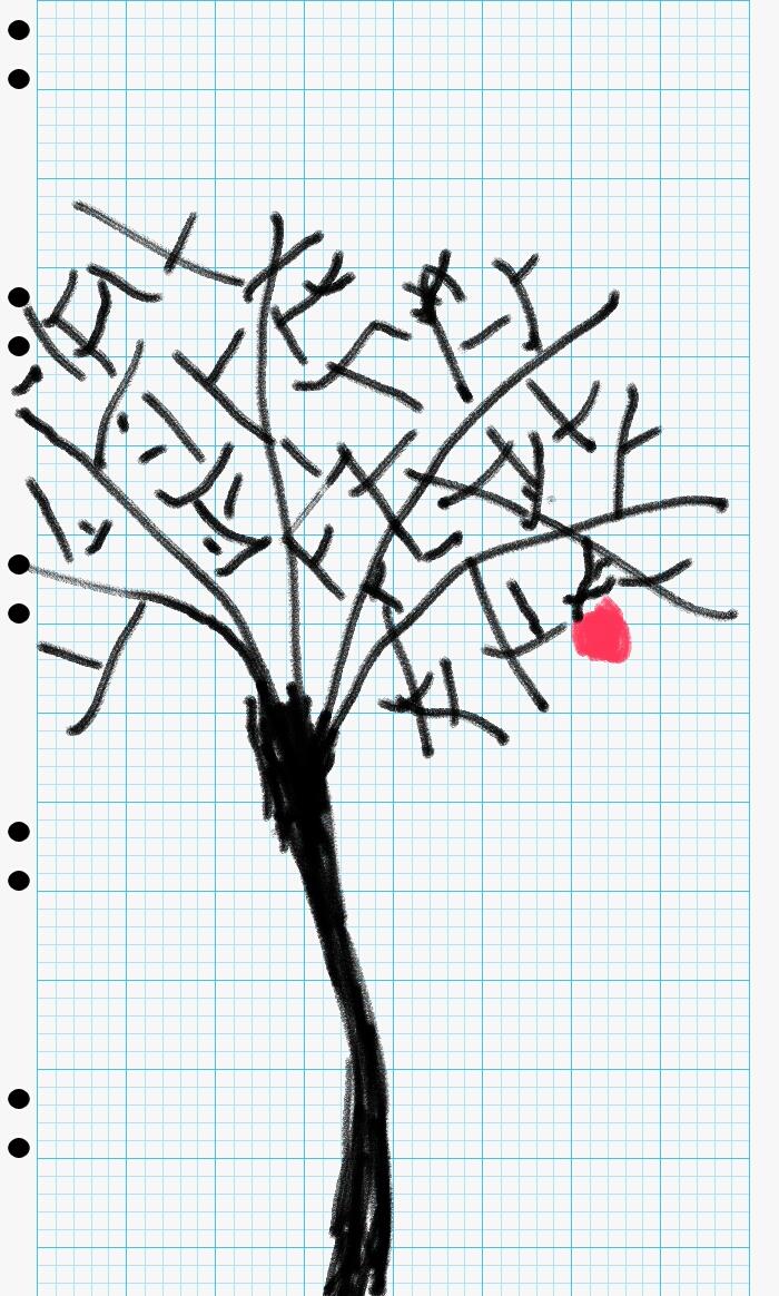 עץ קוי בשלכת נעטף בשל תפוחים אדומים