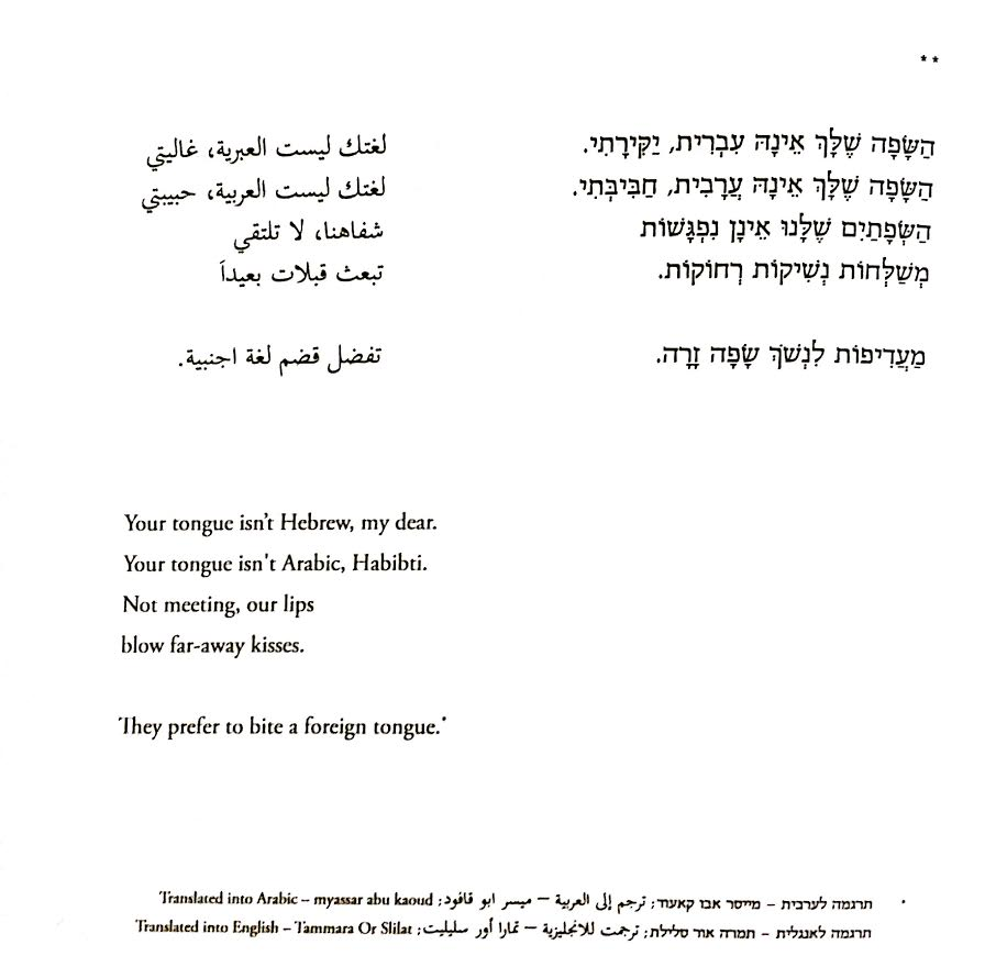 השפה שלך אינה - צילום מהספר